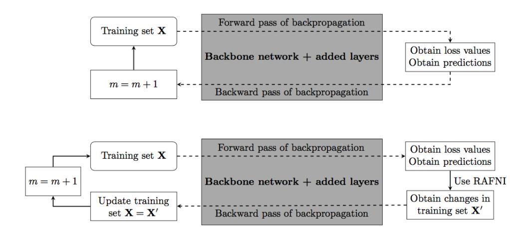 Diferencia entre entrenar la red base (a) sin y (b) con el algoritmo RAFNI (pulsa para ampliar)